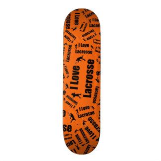 Orange I love lacrosse Skateboard Decks