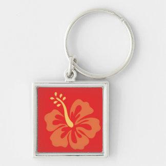 Orange Ibiscus Flower Keychain