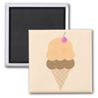 Orange Ice Cream Cone 2 Inch Square Magnet