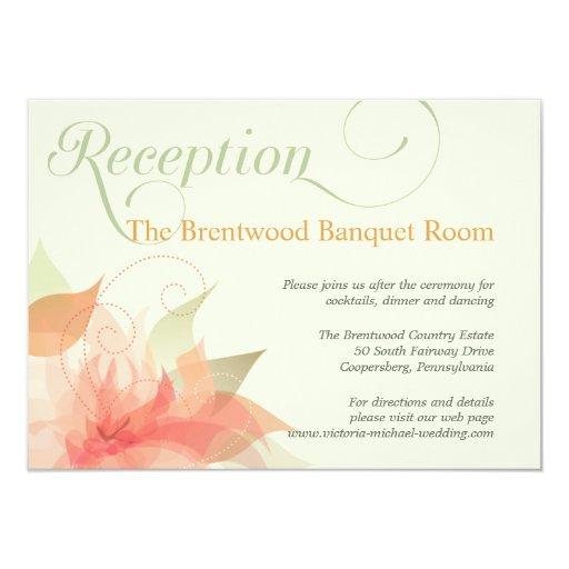 Orange Ice Floral Garden Wedding Reception Card