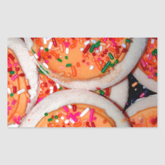 Orange Iced Sugar Cookies Rectangular Sticker