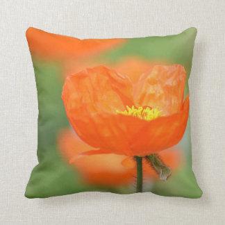 Orange Iceland Poppy Flower Pillow