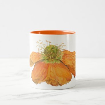 Coffee Themed Orange Icelandic Poppy Mug 11 oz. 2 Tone