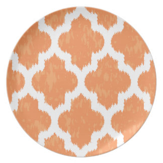Orange Ikat Quatrefoil Classic Modern Geometric Melamine Plate
