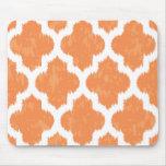 Orange Ikat Quatrefoil Classic Modern Geometric Mouse Pad