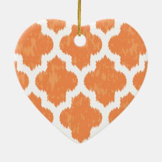 Orange Ikat Quatrefoil Classic Modern Geometric Christmas Tree Ornaments