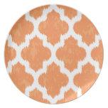 Orange Ikat Quatrefoil Classic Modern Geometric Party Plate