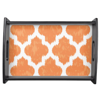 Orange Ikat Quatrefoil Classic Modern Geometric Serving Tray