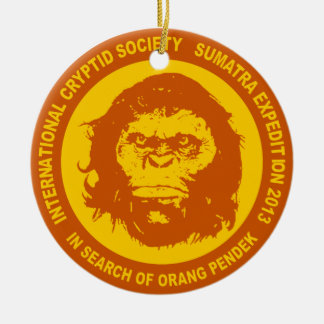 Orange IN SEARCH OF ORANG PENDEK - Sumatra Bigfoot Double-Sided Ceramic Round Christmas Ornament