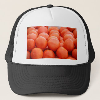 orange in winter trucker hat