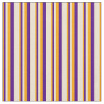 [ Thumbnail: Orange, Indigo, and Beige Lines Pattern Fabric ]