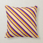 [ Thumbnail: Orange, Indigo, and Beige Lines Pattern Pillow ]