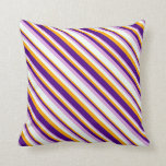 [ Thumbnail: Orange, Indigo, Plum, and Mint Cream Stripes Throw Pillow ]
