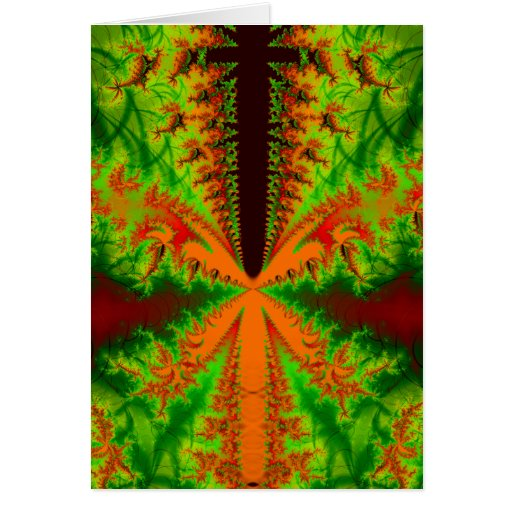 Orange insect Fractal Greeting Card