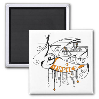 Orange Inspire In Lines and Dangles Magnet