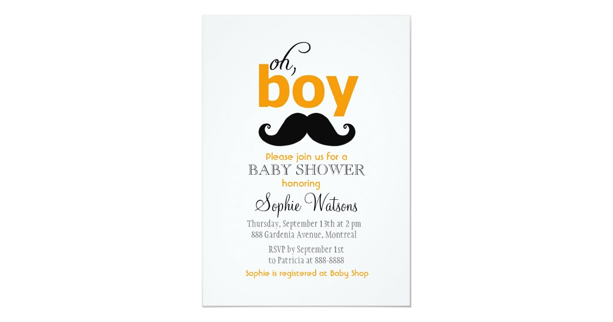 Orange It's a Boy Mustache Baby Shower Invitations