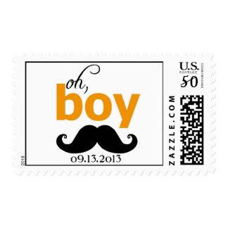 Orange It's a Boy Mustache Baby Shower Postage