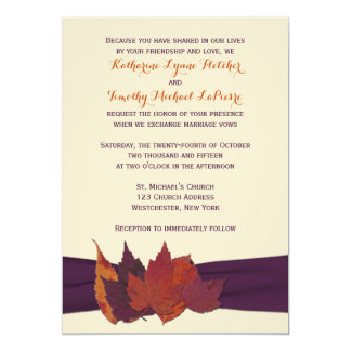 """Orange, Ivory, Purple Dried Leaves Wedding Invite 5"""" X 7"""" Invitation Card"""