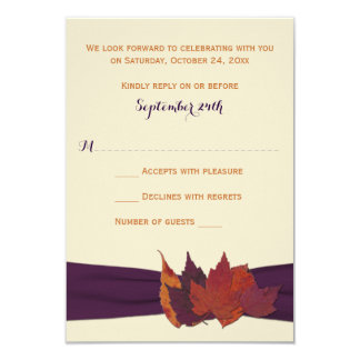 Orange, Ivory, Purple Dried Leaves Wedding RSVP 3.5x5 Paper Invitation Card