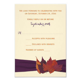 Orange, Ivory, Purple Dried Leaves Wedding RSVP Card
