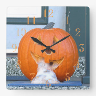Orange Jack Lantern Square Wall Clock