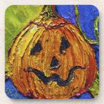 Orange Jack-O-Lantern Pumpkin Halloween Coasters