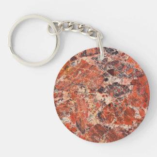 Orange Jasper Stone Image Double-Sided Round Acrylic Keychain