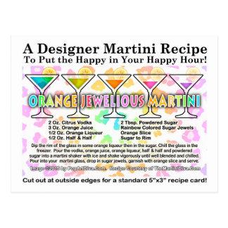 Orange Jewel-ious Martini Cocktail Recipe Postcard