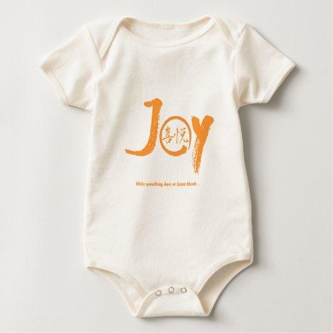 "Orange joy kanji inside enso zen circle ""Joy"" Baby Bodysuit"