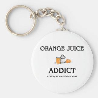 Orange Juice Addict Basic Round Button Keychain