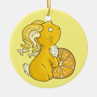 Orange Juice Bunny Ceramic Ornament