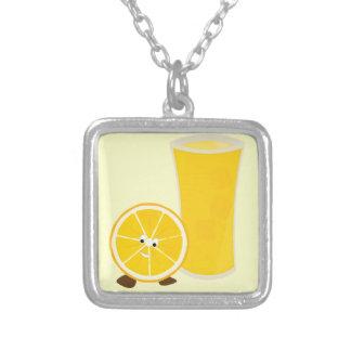 Orange juice glass and orange character square pendant necklace