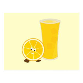 Orange juice glass and orange character postcard