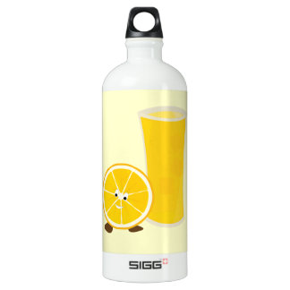 Orange juice glass and orange character water bottle
