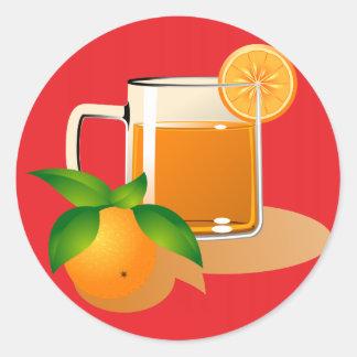 Orange Juice on Red Round Sticker