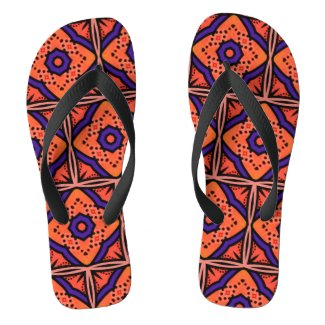 Orange Juice - Psychedelic Geometric Kaleidoscope Flip Flops