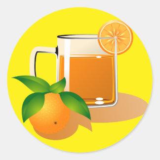 Orange Juice Round Stickers