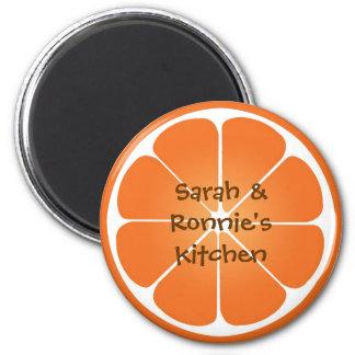 Orange juicy fruit slice round magnet party favor