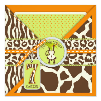 Orange Jungle Monkey Seventh Birthday Card