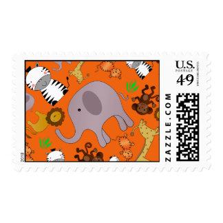 Orange jungle safari animals postage stamp