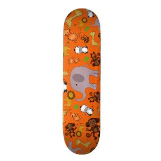 Orange jungle safari animals skate deck