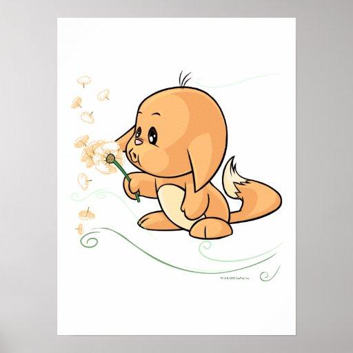 Orange Kacheek wishing on a dandelion Poster