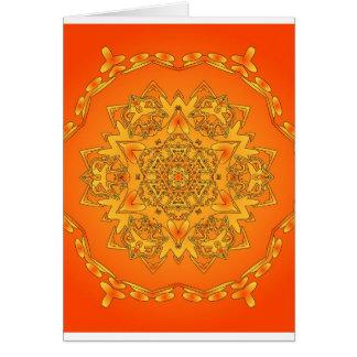Orange Kaleidoscope: Hexagonal Artwork: Card