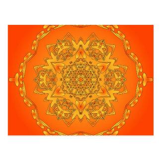 Orange Kaleidoscope: Hexagonal Artwork: Postcard