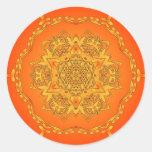 Orange Kaleidoscope: Hexagonal Artwork: Sticker