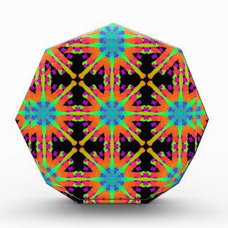 Orange Kaleidoscope With Blue And Green Tiled Acrylic Award