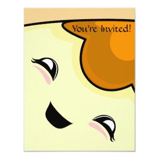 "Orange Kawaii Tickle Monster 4.25"" X 5.5"" Invitation Card"