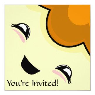 "Orange Kawaii Tickle Monster 5.25"" Square Invitation Card"