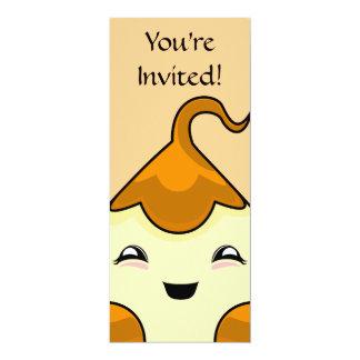 "Orange Kawaii Tickle Monster 4"" X 9.25"" Invitation Card"