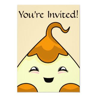 "Orange Kawaii Tickle Monster 5"" X 7"" Invitation Card"
